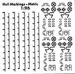 Hull Waterline Markings Metric White 1:96 Scale